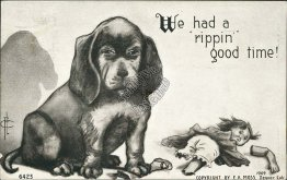 Dog, Chewed Up Toy Doll, F. A. Moss - Early 1900's Postcard