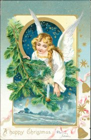 Angel, Winter Scence, Pre-1907 Embossed Christmas XMAS TUCK Postcard