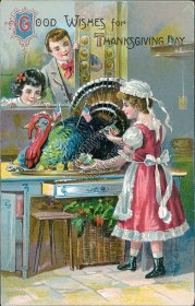 Girl Decorating Turkey w/ US Flags - Early 1900's Thanksgiving Embossed Postcard