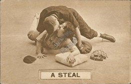 A Steal - Early 1900's Lovers Baseball Postcard