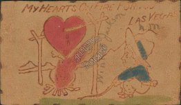 My Heart On Fire for Las Vegas, NM New Mexico Pre-1907 Leather Postcard