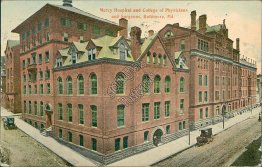 Mercy Hospital, College of Physicians, Baltimore, MD Maryland - 1913 Postcard