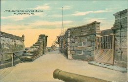 First Apporach to Fort Marion, St. Augustine, FL Florida - Early 1900's Postcard