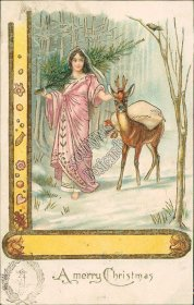 Girl, Christmas Tree, Deer 1905 Embossed German Christmas Postcard