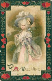 Victorian Woman, Valentines Day - JOHN WINSCH 1910 Embossed Postcard
