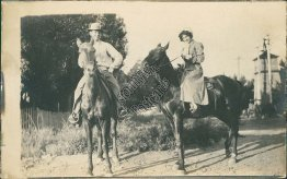 Couple Riding Horses, Mt. Mount Home, ID Idaho - Early 1900's RP Photo Postcard