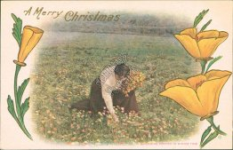 Gathering Poppies in Winter - Early 1900's Embossed Christmas Postcard