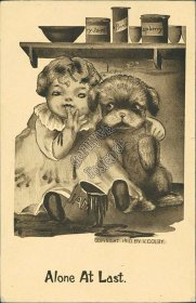 Little Girl, Dog, Puppy, Jam - Alone at Last, V. Colby Artist Signed Postcard