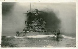 US Navy Battleship USS California CA - Early 1900's Real Photo RP Postcard