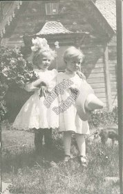 2 Girls in White Dresses - Early 1900's Real Photo RP Postcard