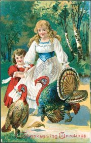 Kids, Turkey, Country Scene - Early 1900's Thanksgiving Embossed Postcard