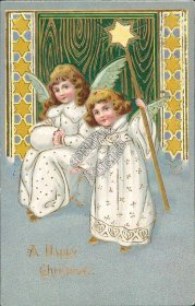 Kids, Angel Holding Star Pre-1907 Christmas XMAS Postcard