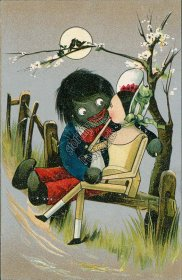 Golliwog, Girl in Rocking Chair - Early 1900's Postcard