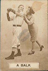 Couple in Baseball Uniforms - A Balk - Early 1900s Lovers Postcard