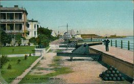 East Battery & Guns, Charleston, SC South Carolina - Early 1900's Postcard