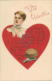 College Football - Early 1900's Embossed Valentines Day Postcard