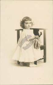 Baby Girl Holding Stuffed Toy, Bear ? - Early 1900's Real Photo RP Postcard