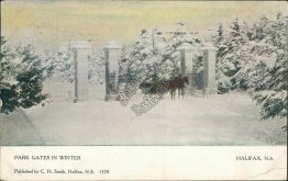 Park Gates in Winter, Halifax, NS, Canada - Early 1900's Postcard