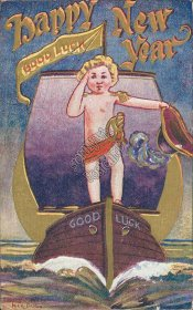 Boy Sailing Ship - Early 1900's Embossed New Year Postcard