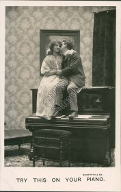 Couple Sitting on Top of Piano, Lovers - Early 1900's Real Photo RP Postcard