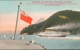 CPR Steamer, Pass of Seattle, Victoria, Vancouver, BC, Canada - Early Postcard