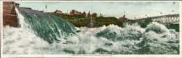 Panorama of Lower Falls, Spokane, WA Washington Pre-1907 DOUBLE Postcard