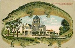 Memorial Presbyterian Church, St. Augustine, FL ALLIGATOR BORDER S555 Postcard