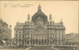 Middenstatie Antwerpen, Central Railway Station, Anvers, Belgium Early Postcard