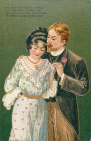 Couple Holding Hands - Early 1900's Embossed Lovers Postcard