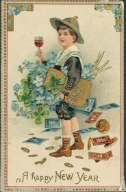 Boy w/ Glass of Wine, Gold, Money - New Year's Embossed Postcard
