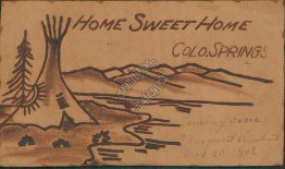 Home Sweet Home, Colorado Springs, CO LEATHER Pre-1907 Postcard