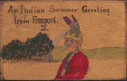 Native American, Indian Summer, Freeport, IL Illinois LEATHER Pre-1907 Postcard