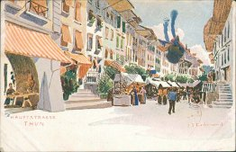 Main St., Thun, Switzerland - Early 1900's Postcard