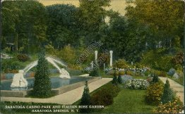 Casino Park & Italian Rose Garden, Saratoga Springs, NY New York 1914 Postcard