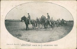 Military Artillery Race, Horse Drawn Wagons, Army Pre-1907 Postcard