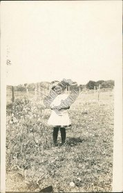 Little Girl in Dress, Outdoors - Early 1900's Real Photo RP Postcard