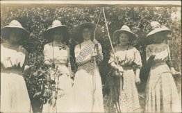 5 Women in Dresses, Outdoors - Early 1900's Real Photo RP Postcard
