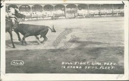 Bull Fight in Lima, Peru in Honor of US Navy Fleet - Early 1900's RP Postcard