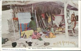 Navajo Indian Blanket Weaver, Bland, NM New Mexico - Early 1900's Postcard