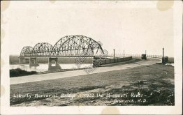 Liberty Memorial Bridge, Missouri River, Bismarck, ND Early RP Photo Postcard
