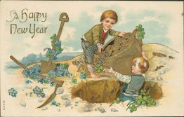 Two Boys Digging Out Gold Coins - Early 1900's New Year Embossed Postcard
