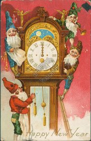 Elves, Trumpet, Grandfather Clock, Blue Red Green Outfits New Year 1910 Postcard