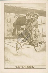 Couple in Bi-Plane, Skylarking, Sky Gliding Airplane Early 1900s Lovers Postcard