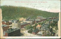 View from Eastman Tower, looking North, Hot Springs, AR Arkansas 1908 Postcard