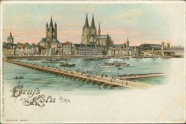 Bridge, Gruss Aus Koln, Cologone, Germany - HOLD TO LIGHT Early 1900's Postcard