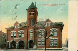 Central Fire & Police Station, McKeesport, PA Pennsylvania - 1910 Postcard