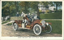 Fire Department Auto Truck, Perry, NY New York - Early 1900's Postcard