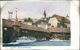 Spreuer Bridge, Lucerne, Switzerland - Early 1900's Postcard
