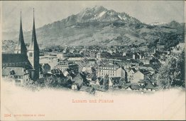 Lucerne and Pilatus, Lucerne, Switzerland - Early 1900's Postcard