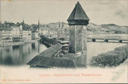 Chapel Bridge and Water Tower, Lucerne, Switzerland - Early 1900's Postcard